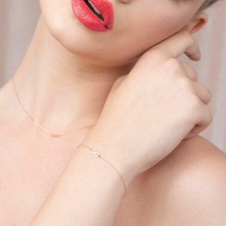 bijuterii aur alb galben roz de 14 k mijoux bratara infinity 1155
