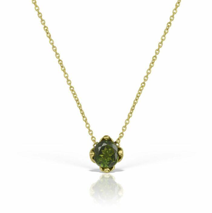 lantisor din aur cu pietre turmalin verde mijoux LDR S GT